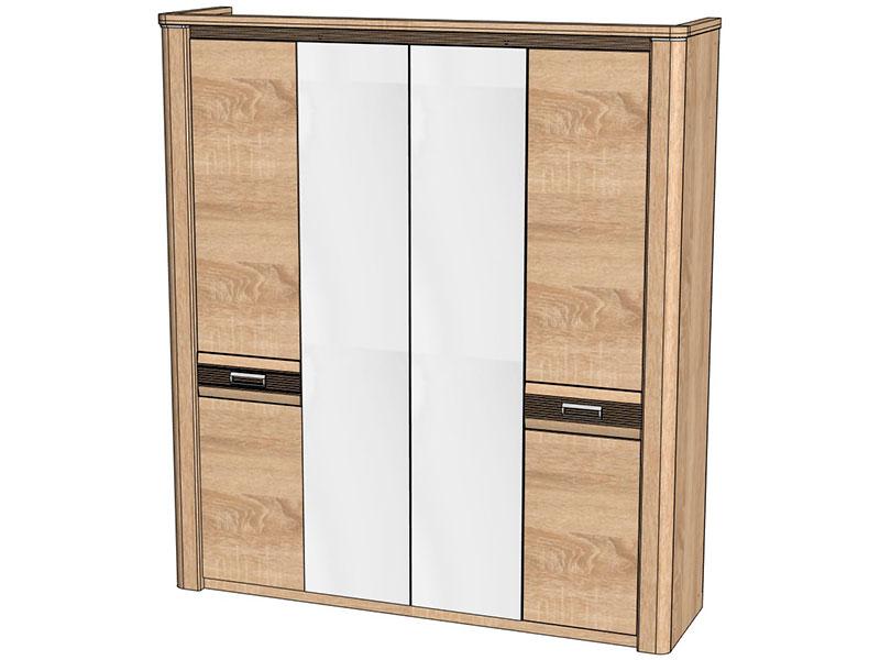Шкаф 4-х дверный магнолия (дуб бардолино) - мебель недорого .